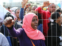 Asylum seeker women march toward Tel Aviv's Rabin Square on the first day of a three-day strike demanding refugee rights in Israel, January 5, 2013. (Photo: Activestills.org)